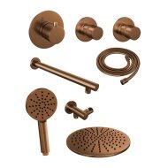 Thermostatisch Inbouwdoucheset Brauer Copper 30cm Hoofddouche Wandarm 3 Standen Handdouche Koper
