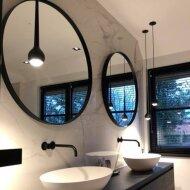 Badkamerspiegel Rond Martens Design Miami Mat Zwart RVS Frame
