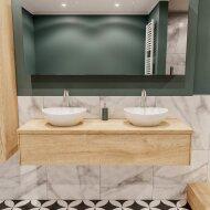 Badkamermeubel BWS Madrid Washed Oak 150 cm met Massief Topblad en Keramische Waskom Dubbel (2 kraangaten)