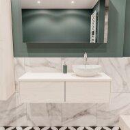 Badkamermeubel BWS Madrid Wit 120 cm met Massief Topblad en Keramische Waskom Rechts (2 lades, 1 kraangat)