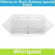Villeroy & Boch Subway zeshoek 190x80 cm Whirlpool Enkel systeem | Tegeldepot.nl