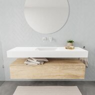Badkamermeubel BWS Ibiza 150 cm Washed Oak Solid Surface Wastafel Mat Wit (acht varianten)