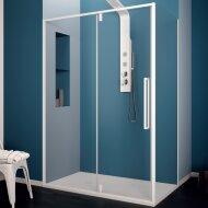Douchecabine Lacus Murano Klapdeur 140x200 cm 6 mm Met Zijwand Helder Glas Wit