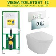 Viega EcoPlus Toiletset 12 Wiesbaden Vesta 52 cm met Visign for Style 10 drukplaat