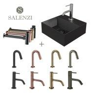 Salenzi Fonteinset Spy 30x30 cm Mat Zwart (Keuze uit 8 kranen in 4 kleuren)