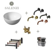 Salenzi Waskomset Unica Round 40x20 cm Glans Wit (Keuze uit 4 Kleuren Kranen)