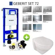 Geberit UP320 Set72 Sanindusa Plus Wandtoilet Verhoogd Rimless Softclose met Sigma Drukplaat Wit