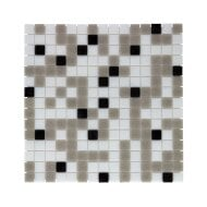 Mozaïek Amsterdam Basic 32.2x32.2 cm Glas Met Fijne Korrels Wit/Grijs/Zwart Mix (Prijs Per 1.04 m2)
