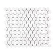 Mozaïek Barcelona 26x30 cm Geglazuurd Porselein Hexagon Glanzend Extra Wit (Prijs Per 0.78 m2)