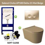 Geberit UP100 Toiletset Wandcloset Salenzi Civita Mat Beige met Delta 21 Drukplaat