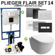 Plieger Flair compact Toiletset set14 B&W Zero diepspoel met Plieger Flair drukplaat