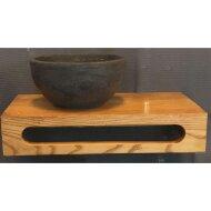 Waskom Sanilux Rond 20x12 cm Natuursteen met Massief Wood Planchet