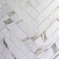 Stroken Vloertegel Statuario 10x60 cm Mat Wit (doosinhoud 0.72 m2)