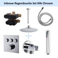 Inbouw Regendouche Set Klik 3-Wegs Chroom (Plafonduitloop)