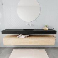 Badkamermeubel BWS Ibiza 200 cm Washed Oak Twee Soft-Close Lades Solid Surface Wastafel Mat Zwart (acht varianten)