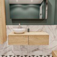 Badkamermeubel BWS Madrid Washed Oak 120 cm met Massief Topblad en Keramische Waskom Links (2 lades, 1 kraangat)