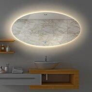Badkamerspiegel Gliss Oval VERTIKAAL LED Verlichting 140x90 cm