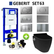 Geberit UP320 Toiletset Wandcloset Idevit Mat Zwart met Bidet Set63
