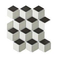 Mozaïek Paris 26.6x30.5 cm Geglazuurd Porselein, Cubic En Glanzend Wit, Grijs En Zwart Mix (Prijs Per 0.81 m2)