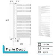 Handdoekradiator Franto Dastro 1210 x 600 mm Donker grijs structuur