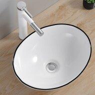 Opbouw Waskom Boss & Wessing Queen 40x33x15 cm Glanzend Wit met Zwarte Lijn