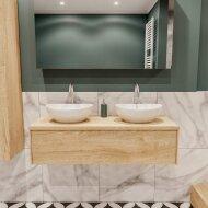 Badkamermeubel BWS Madrid Washed Oak 120 cm met Massief Topblad en Keramische Waskom Dubbel (2 kraangaten)