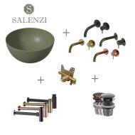 Salenzi Waskomset Unica Round 40x20 cm Mat Legergroen (Keuze uit 4 Kleuren Kranen)
