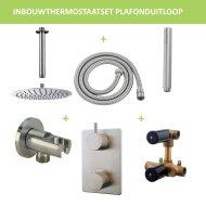 Thermostatisch Inbouwdoucheset BWS Plafonduitloop Rond 30 cm Geborsteld RVS