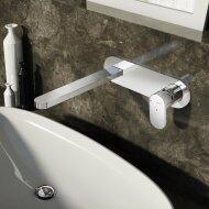 Wastafelmengkraan Hotbath Friendo 3+3 Inbouwsysteem Achterplaat Uitloop Recht 18 cm Chroom
