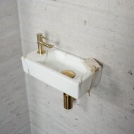 Fonteinset Carrara Marmerlook Wiesbaden Color Messing Goud (kraangat links)