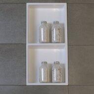 Inbouwnis Luca Sanitair 59,5x29,5x8cm Solid Surface 2 Vakken Rechthoek Mat Wit