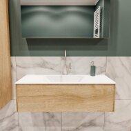 Badkamermeubel BWS Madrid Washed Oak 100x45x30 cm Mat Witte Solid Surface Wastafel (1 kraangat)