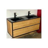 Badkamermeubel Casajoy Wood 120x46x55 cm Eiken Met Keramieken Wastafel Zwart