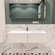 Badkamermeubel BWS Madrid Wit 120x45x30 cm Mat Witte Solid Surface Wastafel Rechts (2 lades, 0 kraangaten)