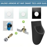 Urinoir Set Salenzi Hung Achterinlaat Mat Zwart met TECE Loop Drukplaat Glas