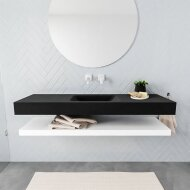 Badkamermeubel BWS Ibiza 150 cm met Mat Wit Planchet Solid Surface Wastafel Mat Zwart (acht varianten)