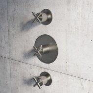 Douchethermostaat Hotbath Chap Inbouw 2 Stopkranen Kruisgreep Geborsteld Nikkel (excl. inbouwdeel)