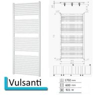 Handdoekradiator Vulsanti 1702 x 600 mm Antraciet metallic