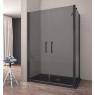 Douchecabine Lacus Giglio Black 100x190 cm Mat Zwart Profiel 6mm Rookglas (1 zijwand)
