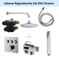 Inbouw Regendouche Set Klik 3-Wegs Chroom (Muuruitloop)