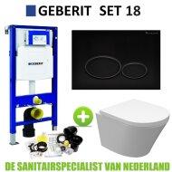 Geberit UP320 Toiletset set18 Wiesbaden Vesta Junior Rimless 47cm Met Matzwarte Drukplaat