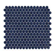 Mozaïek Venice Pennyround 31.5x29.4 cm Geglazuurd Porselein, Rond Glanzend Blauw (Prijs Per 0.93 m2)