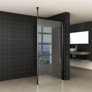 BWS Safetyglass Inloopdouche Verticale Stang 120x200 10mm Nano Coating Mat Zwart