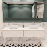 Badkamermeubel BWS Madrid Wit 180 cm met Massief Topblad en Keramische Waskom Dubbel (2 lades, 2 kraangaten)