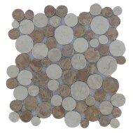 Mozaïek Coin Mix Yucatan Brown/Cream Marmer 30x30 cm (Prijs per 1m²)