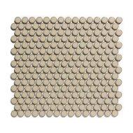 Mozaïek Venice Pennyround 31.5x29.4 cm Geglazuurd Porselein, Rond Glanzend Beige Met Rand (Prijs Per 0.93 m2)