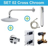 Wiesbaden inbouw regendouche set 02 Cross Chroom