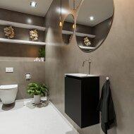 MONDIAZ TURE 40cm toiletmeubel urban. EDEN wastafel talc rechts geen kraangat