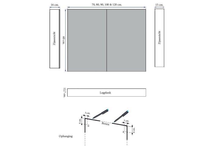 Spiegelkast Sanicare Qlassics 120 cm 2 Deuren Antraciet