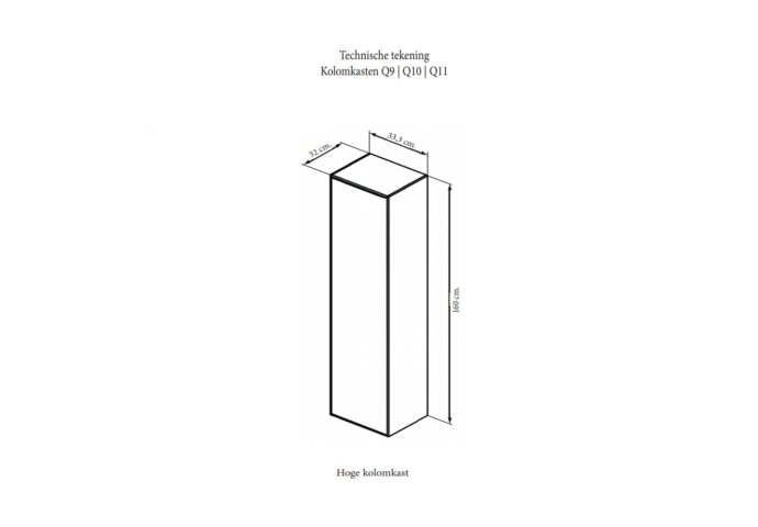 Kolomkast Sanicare 1 Soft-Closing Deur Chromen Greep 160x33,5x32 cm Antraciet